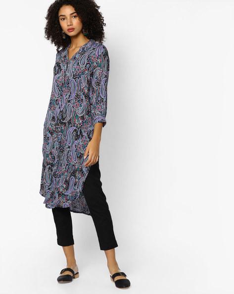 Printed Shirt Kurta With Asymmetrical Hemline By Melange By Lifestyle ( Black )