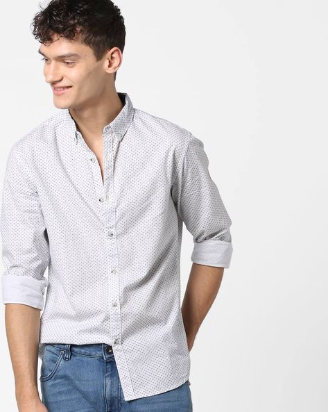All-Over Print Shirt With Button-Down Collar By AJIO ( Grey )