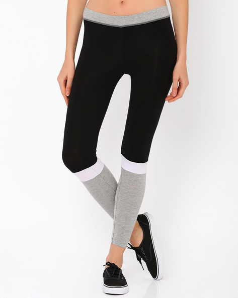 Colour Block Leggings By AJIO ( Black )