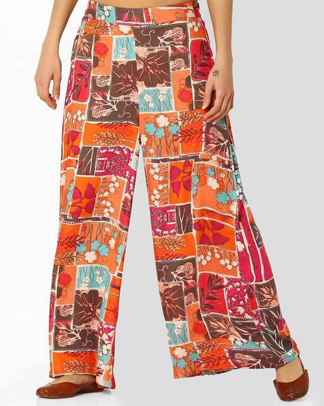Floral Print Palazzo Pants By Global Desi ( Coral )