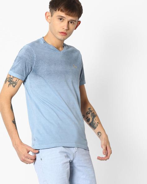 V-Neck Slim Fit T-shirt By SPYKAR ( Blue )