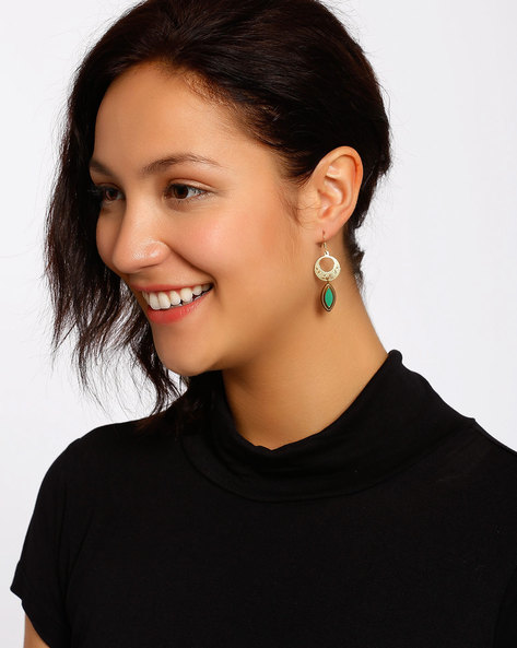 Gold-Plated Dangler Earrings By Shabnam Gitanjali ( Turquoise ) - 460012317001