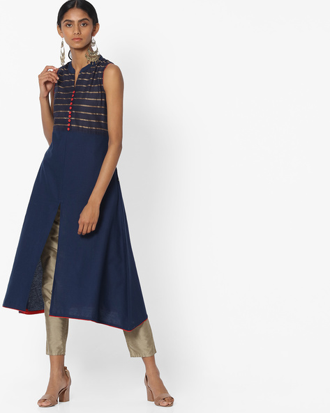 Striped A-line Kurta With Front Slit By AVAASA MIX N' MATCH ( Navy )