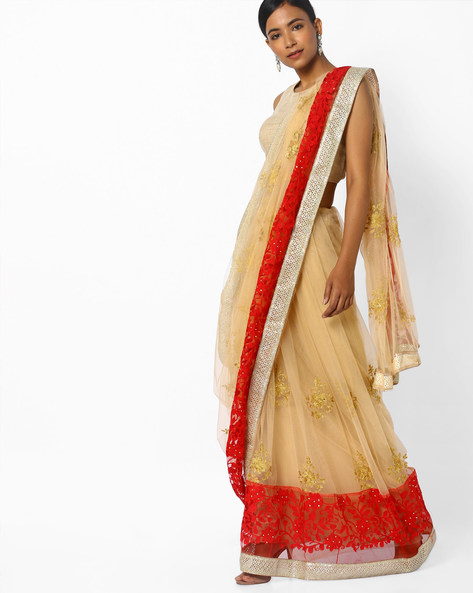 Saree With Zari And Floral Embroidery By CHHABRA 555 ( Offwhite )