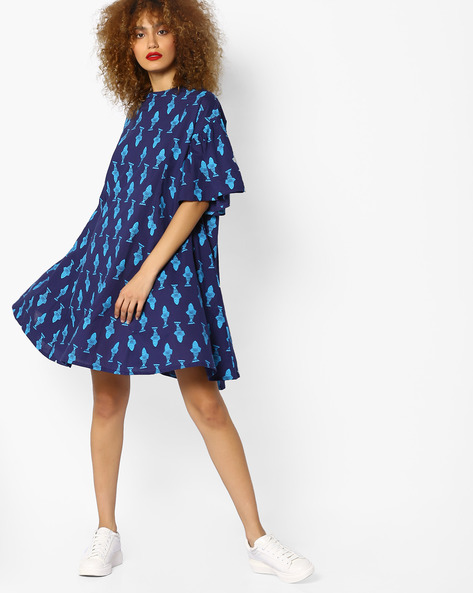 Printed Dress With Flared Sleeves By AJIO ( Blue )
