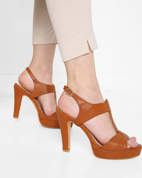 Peep-Toe Platforms With Ankle Strap By AJIO ( Tan ) - 460136407013