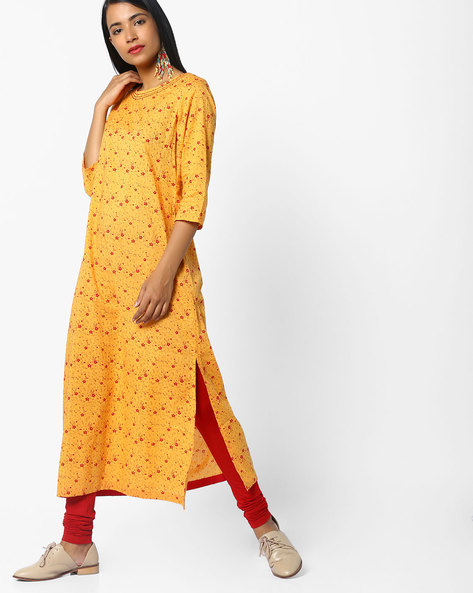 Floral Print Kurta With Boat Neck By AJIO ( Multi )