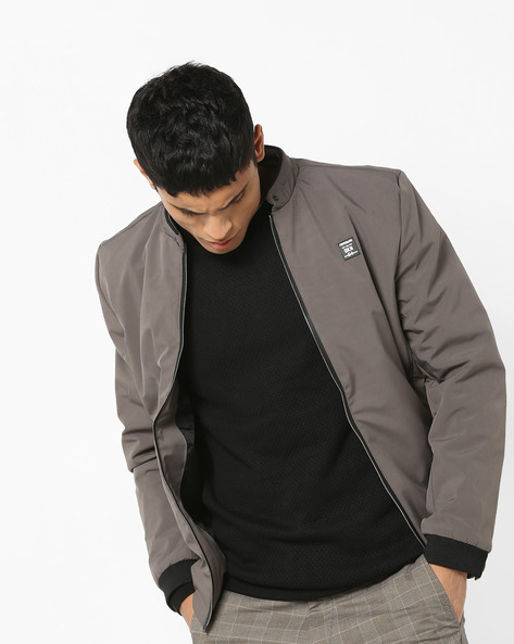 Jacket With Band Collar By Fort Collins ( Grey )