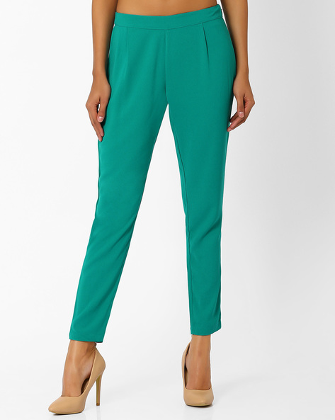 Tapered Ankle-Length Trousers By AJIO ( Teal )