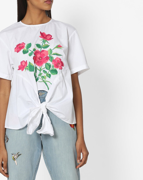 Floral Print Top With Tie-Up By Tokyo Talkies ( White )