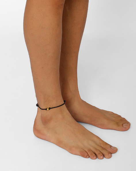 Cotton Anklet With Bead By Alto Vida ( Black )