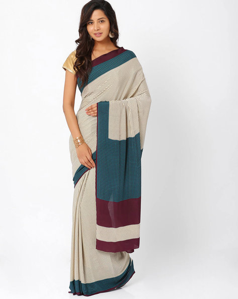 Printed Art Crepe Saree By Majestic Silk ( Offwhite )