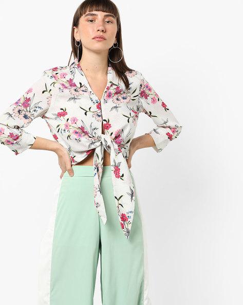 Floral Print Tie-Up Shirt By AJIO ( Lightpink )