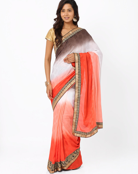 Embroidered Crepe Jacquard Ombre-Dyed Saree By Majestic Silk ( Orange ) - 460011675001