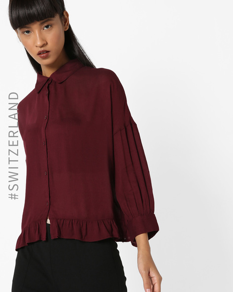 Classic Shirt With Bishop Sleeves By TALLY WEiJL ( Purple )