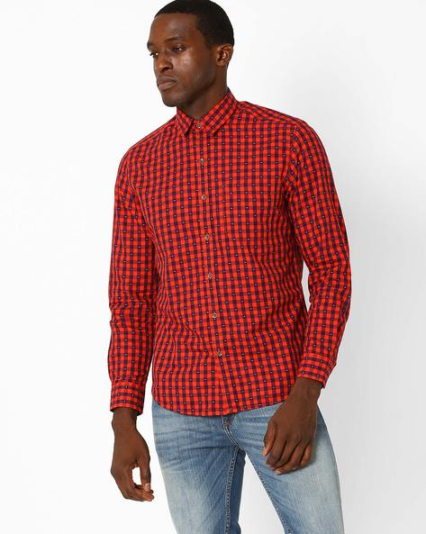 Slim Fit Checked Shirt By JOHN PLAYERS ( Red )