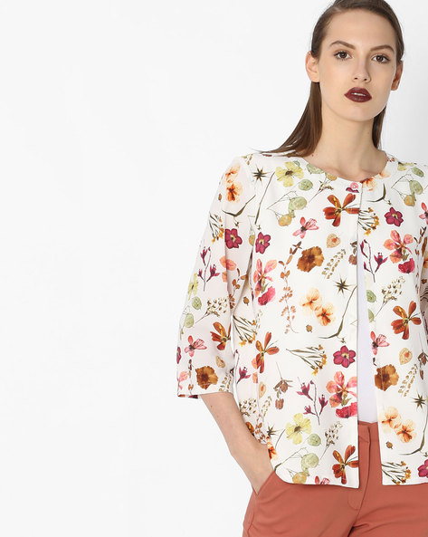 Floral Printed Shrug By Project Eve WW Casual ( Offwhite )