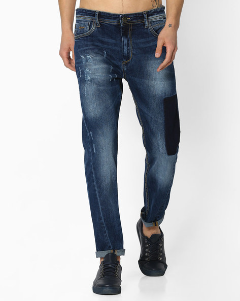Slim Fit Distressed Jeans By ADAMO LONDON ( Blue )