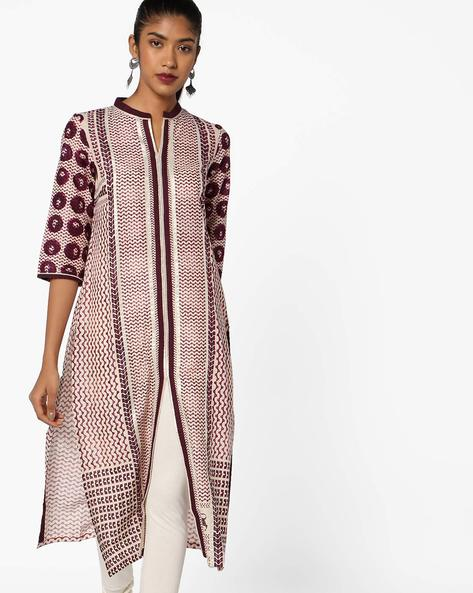 Printed Cotton Straight Kurta By W ( Purple )