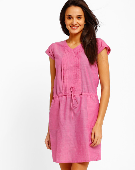 Dress With Pintucks By Style Quotient By Noi ( Pink )