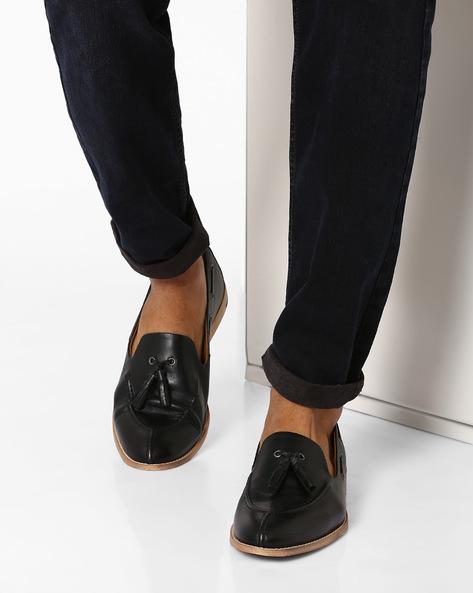N9-Treated Leather Tassel Loafers By AJIO ( Black )