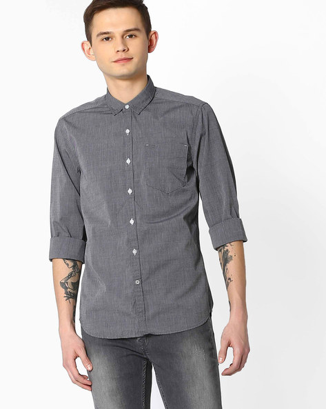 Fil-A-Fil Slim Fit Shirt By Lee ( Grey )