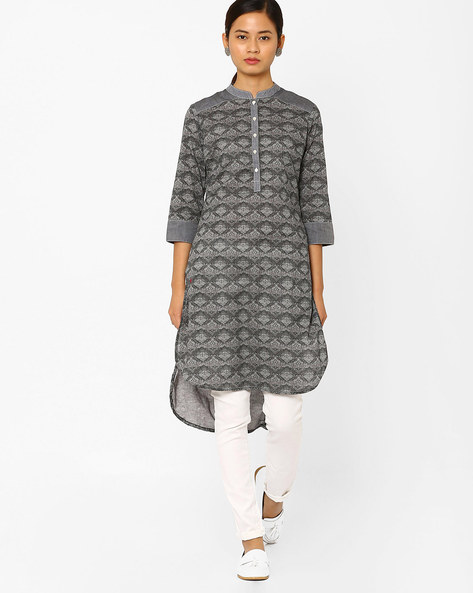 Geometric Print High-Low Kurta By AJIO ( Black )