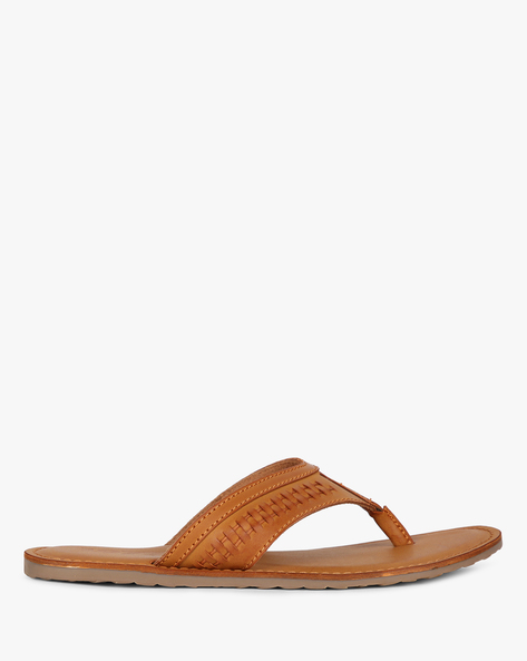 Textured Thong-Style Flip-Flops With Stitch Detail By Estd.1977 ( Tan )