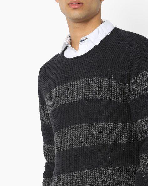 Striped Round-Neck Sweater By ED HARDY ( Grey )