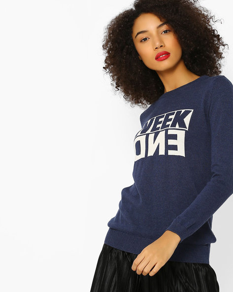 Ribbed Pullover With Typographic Pattern By Lee ( Blue )