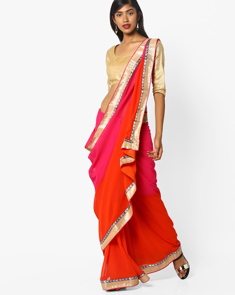 Embroidered Saree With Contrast Border By Florence ( Pink )