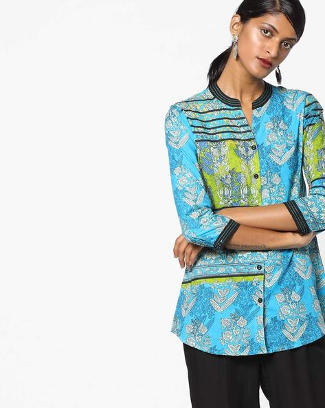 Printed Shirt With Mandarin Collar By Rain & Rainbow ( Turquoise )