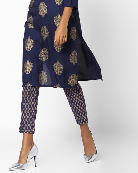 Printed Cotton Pants With Pintucks By Melange By Lifestyle ( Navyblue )