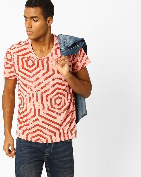 Geometric Print Slim Fit T-shirt By AJIO ( Pink )