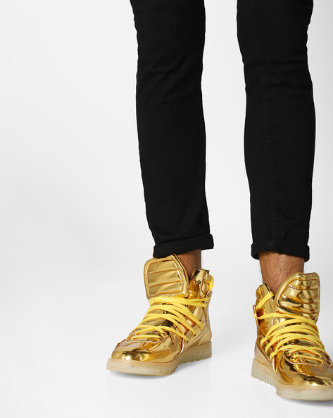 High-Top Lace-Up Sneakers By AJIO ( Gold )