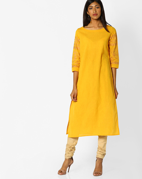 Straight Kurta With Printed Sleeves By Melange By Lifestyle ( Yellow )