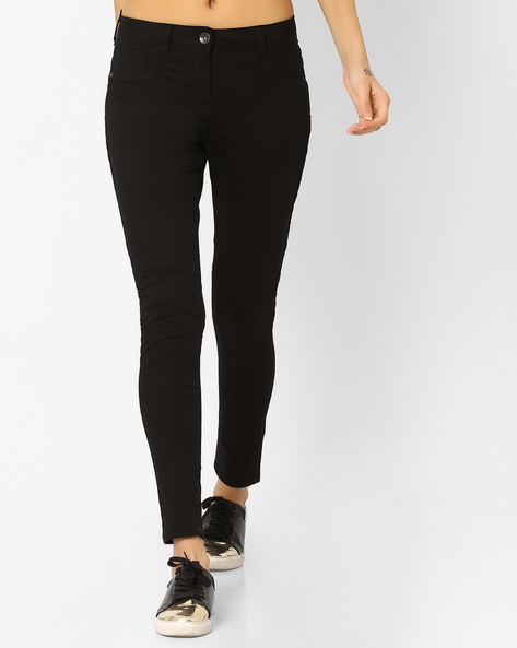 Skinny Fit Twill Chinos By DNMX ( Black )