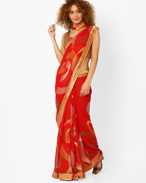 Printed Saree With Contrast Border By Arissa ( Red )