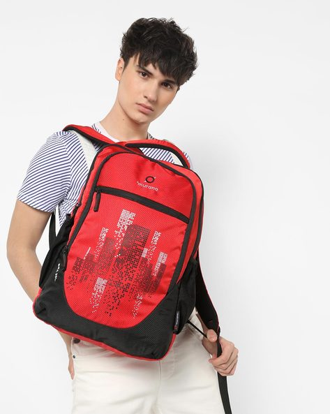 Graphic Print Backpack With Mesh Pockets By Murano ( Red )