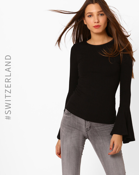 Top With Bell Sleeves By TALLY WEiJL ( Black )