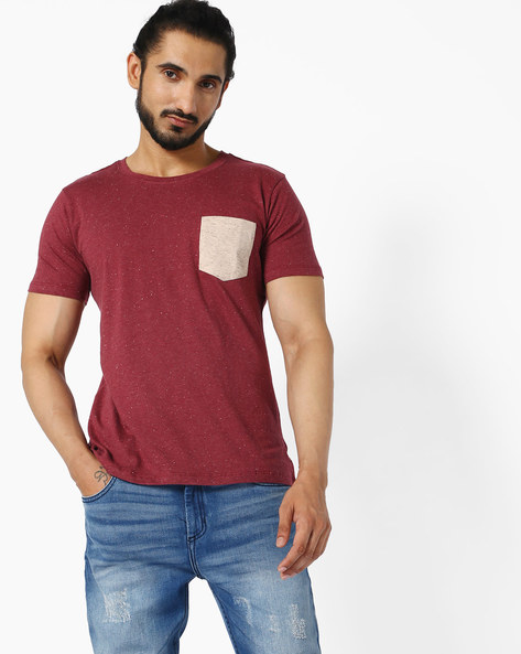 Crew-Neck T-shirt With Speckled Effect By ANTIFERRO ( Maroon )