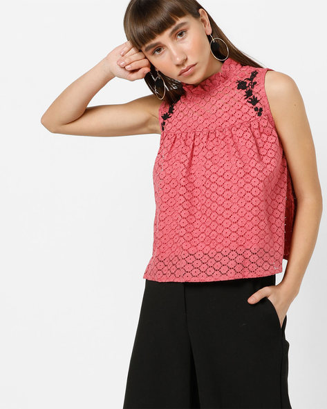 Sleeveless Top With Ruffled Neckline By AJIO ( Pink )