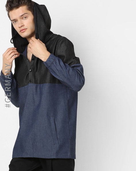 Hooded Sweatshirt With Side Pockets By Just Rhyse ( Blue )