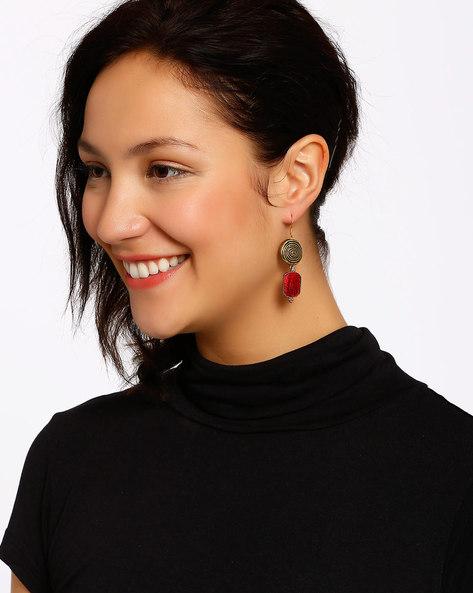 Gold-Plated Dangler Earrings By Shabnam Gitanjali ( Red ) - 460012338001
