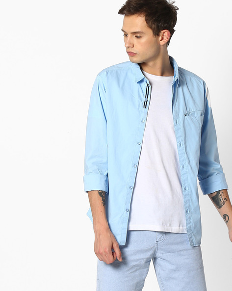 Slim Fit Shirt With Patch Pocket By SPYKAR ( Blue )