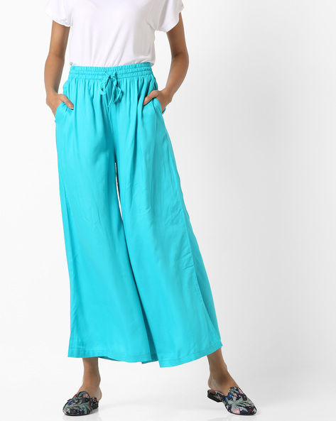 Flared Palazzos With Elasticated Waist By Project Eve IW Casual ( Turquoise )