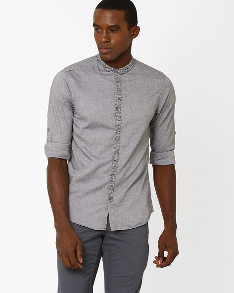 Slim Fit Shirt With Mandarin Collar By SPYKAR ( Darkgrey )