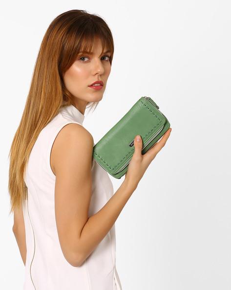 Zip-Around Wallet With Stitch Detailing By Lavie ( Green )