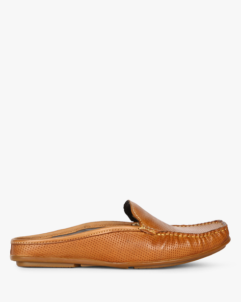 Genuine Leather Perforated Slip-Ons By ALBERTO TORRESI ( Tan )