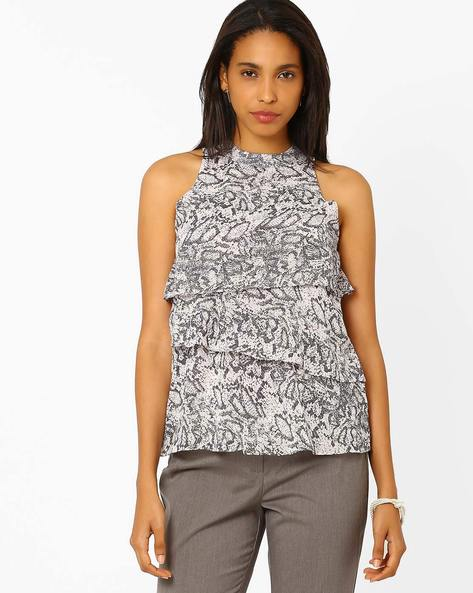 Printed Layered Top By Annabelle By Pantaloons ( Black )
